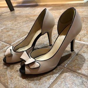 Peep toe bow heels